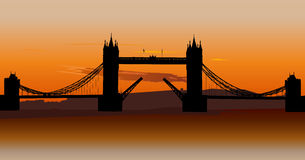 Tower Bridge in London, UK. London Tower Bridge with orange sunset sky, London, UK Royalty Free Stock Photography
