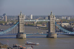 Tower Bridge in London, UK. Tower Bridge aerial view. London, UK Stock Photos