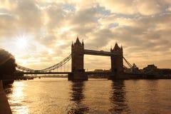 Tower Bridge in  London, UK. Famous Tower Bridge during sunrise in   London, UK Stock Photo