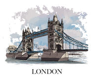 LONDON, UK – Tower Bridge. Hand created sketch. Postcard with vintage effect Royalty Free Stock Images