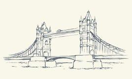 Tower bridge, London, UK. Hand drawn vector illustration Stock Images