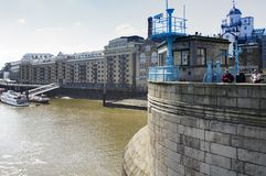 A view of Butler`s Wharf from the Tower Bridge of London
