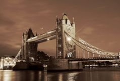 Tower Bridge in London. UK, by night Stock Images