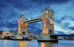 Tower Bridge in London, UK, by night royalty free stock photography