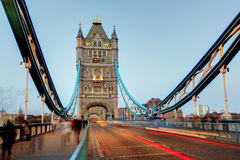 Tower Bridge in London, UK, by night stock photo