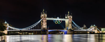 Tower Bridge in London, UK with the Olympic rings Royalty Free Stock Photo