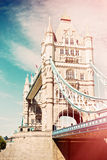 Tower Bridge in London, UK. Retro filter effect Royalty Free Stock Image