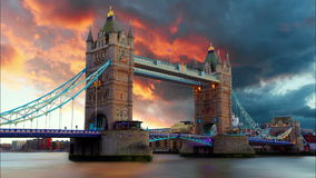 Tower Bridge in London, UK, time lapse Royalty Free Stock Images