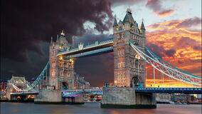 Tower Bridge in London, UK, time lapse stock video footage