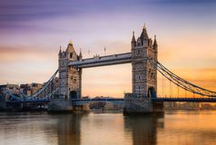 Tower bridge in London, UK. Photographed at sunset stock image