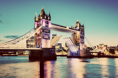 Tower Bridge in London, UK. Vintage Royalty Free Stock Images