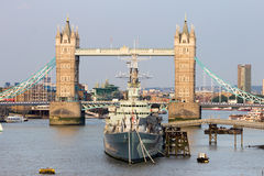 Tower Bridge London. View on the Tower Bridge and HMS Belfast in London Royalty Free Stock Image