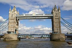 Tower Bridge London view from Thames royalty free stock photos
