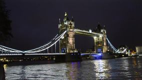 Tower Bridge in London wide night view stock video footage