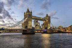 Tower Bridge in London during a winter sunset, UK stock photography
