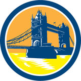 Tower Bridge London Woodcut Retro Royalty Free Stock Photo