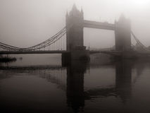 Tower Bridge in mist, London, UK Stock Images