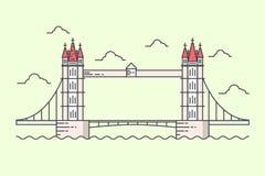 Tower Bridge. Modern line  illustration of Tower Bridge. Flat design style Royalty Free Stock Photography
