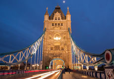Tower Bridge with motion blurred car lights Royalty Free Stock Photos