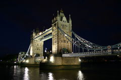 Tower Bridge at night. Tower Bridge over river Thames illuminated at night, London, England Royalty Free Stock Photography
