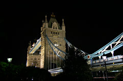 Tower Bridge at night 2 - London, England. A night view of Tower Bridge crossing the Thames River in London, England stock images