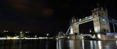 Tower bridge at night. Famous Tower Bridge of London shot at night. Great Britain. Panorama Royalty Free Stock Photo
