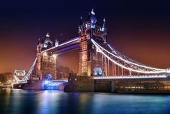 Tower bridge by night. Tower bridge, London, United Kindom Stock Photos