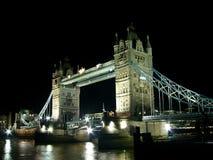 THE TOWER BRIDGE AT NIGHT stock image