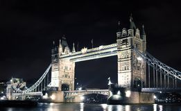 Tower bridge at night Stock Images