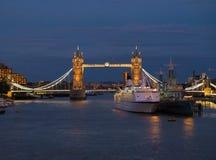 Tower Bridge at night. Illuminated Tower Bridge at night in London, England Royalty Free Stock Image