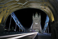 Tower Bridge at night. Tower Bridge with traffic at night, London Royalty Free Stock Photos