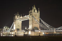 Tower Bridge at night. Tower Bridge Stock Photography