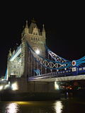 Tower Bridge at night: aside perspective, London. Night view of Tower Bridge, perspective view taken from the Thames bank, London, England, United Kingdom Royalty Free Stock Image