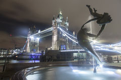 Tower Bridge at Night. The iconic Tower Bridge in London. Taken at Night with a long exposure Royalty Free Stock Photography