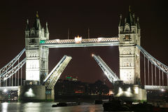 Tower Bridge at night. With its drawbridge open on the River Thames in Tower Hamlets, London , England, UK Stock Photography