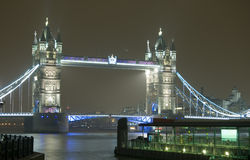 Tower Bridge at Night, London. Night time view of the landmark Tower Bridge over the River Thames in London Royalty Free Stock Photo