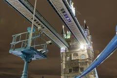 Tower Bridge at Night. The Tower Bridge in London at night stock photos