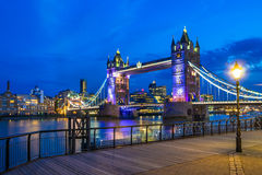 Tower Bridge at Night. The London Tower Bridge against a blue night sky Stock Photography