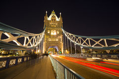 Tower Bridge at night in London royalty free stock photography