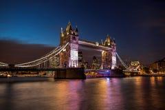 Tower Bridge at night in London, England, UK stock image