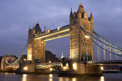 Tower Bridge at night, London, UK. As the light shines as it is getting dark Royalty Free Stock Images