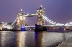 Tower Bridge at Night, London, UK. March 2013 royalty free stock photo