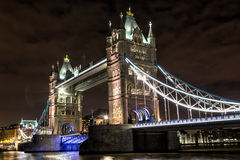 Tower Bridge at night in London Stock Photography