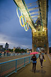 Tower Bridge at night with Olympic rings in London Stock Images