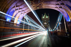 Tower Bridge at night. Night view at Tower Bridge, London royalty free stock image