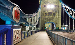 Tower Bridge at night: wide perspective, London. Night view of empty Tower Bridge, no traffic, London, England, United Kingdom Stock Photos