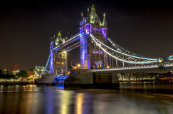 Tower Bridge Nights. The sentinel of the river thames! London Tower Bridge- Glistering in its light show on a lovely summers night Stock Image