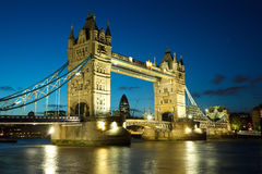 Tower Bridge from the North Bank at dusk. London, UK Royalty Free Stock Image