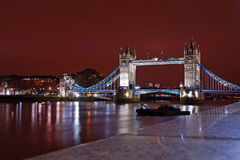 Tower Bridge from the north bank at night Stock Photos