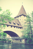 Tower and bridge in Nuremberg Royalty Free Stock Photos